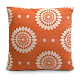 "21"" Square Tangerine Orange Abstract Floral Patterned Pillow"