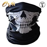 Onairmall Pack of 2 Black Seamless Skull Face Tube Mask