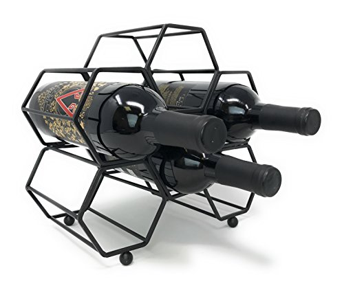 Clever Home Modern Hexagon 6 Bottle Table Top Steel Wine Rack (Matte Black) by Clever Home (Image #1)