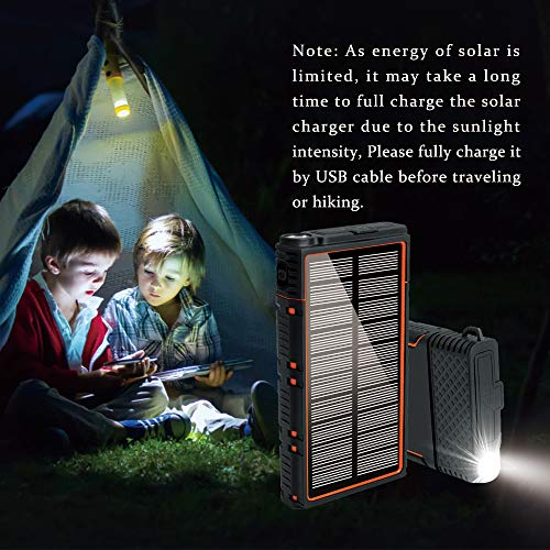 soyond Solar Power Bank-15000 mAh Portable Solar Battery Phone Charger Dual USB Waterproof 2 Led Light Flashlight with Compass for Camping Outdoor Hiking for Smartphones (Orange) by soyond (Image #2)