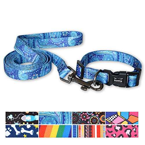 Ihoming Pet Collar Leash Set Safety Combo for Daily Outdoor Walking Running Training Small Medium Large Dogs Cats Blue Paisley Extra Small