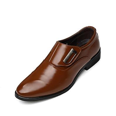 5700752dfd8158 Feidaeu Homme Chaussures de Ville Cuir Sans Lacets Bout Pointu Chaussures  D'Affaires Classique Commercial Mariage Grande Taille 47 48 Derbies:  Amazon.fr: ...