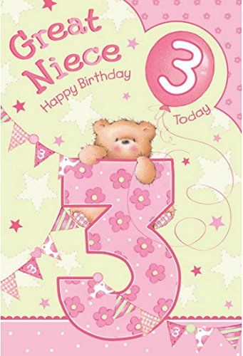 Great Niece 3rd 3 Today Happy Birthday Card With A Lovely Verse