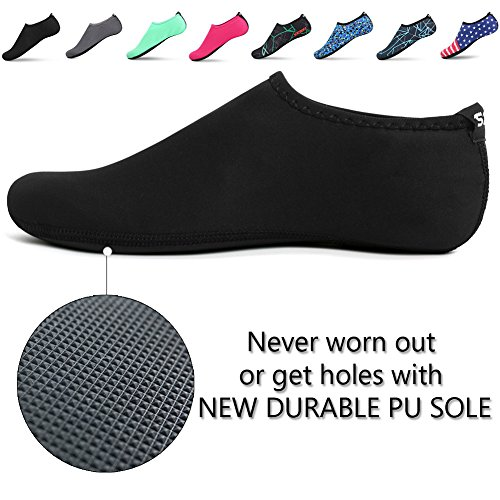 SENFI Unisex Water Skin Shoes Barefoot Aqua Socks For Pool Water Aerobics Exercise,TFF-01black-XL