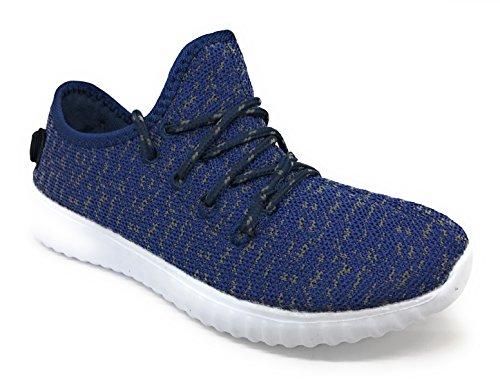 Blaue Berry EASY21 Frauen-beiläufige Art- und Weiseturnschuhe Breathable athletische Sport-leichte Schuhe Marine / Grau