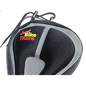 Just Bike There Bicycle Seat Cover - Best Padded Mountain and Road Memory Foam Saddle Cushion Pad for Exercise Comfort - Unisex Men and Women - Adult and Youth
