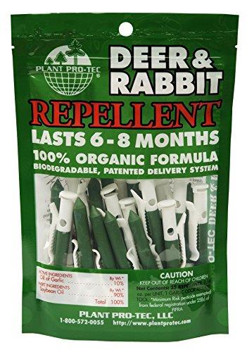Garlic Sticks ((25 Pack) Plant Pro-Tec Deer and Rabbit Repellent Organic Natural Biodegradable Garlic (Made In USA))
