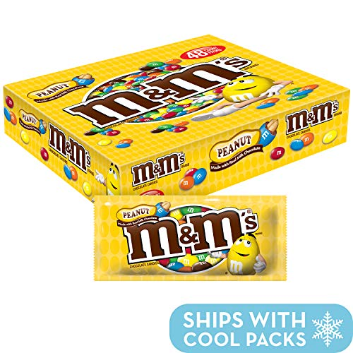 M&M'S Peanut Chocolate Candy Singles Size Pouches 1.74-Ounce Pouch 48-Count -