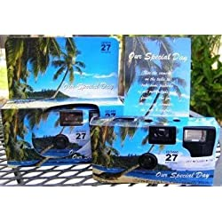 5 Pack Tropical/Beach Disposable Wedding Cameras in Matching Gift Boxes with Table Tents, 35mm, 27 Exposures