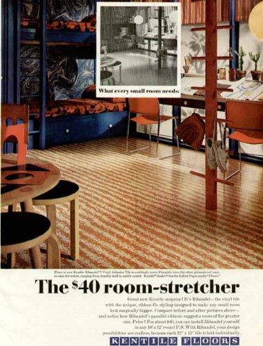 Scary Vinyl Asbestos Tile for Home Flooring in 1969 KENTILE Home Flooring AD Original Paper Ephemera Authentic Vintage Print Magazine Ad/Article