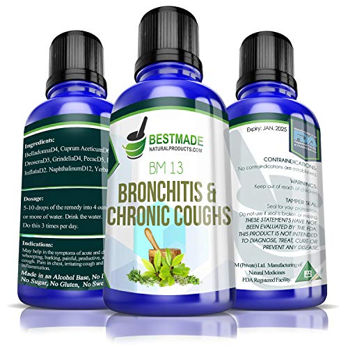 Bronchitis & Chronic Coughs BM13, 30mL, Supplement for Acute & Chronic Coughs, a Natural Remedy to Relieve Productive or Dry Coughs,Tightness in Chest & Bronchial Inflammation, Non-Drowsy
