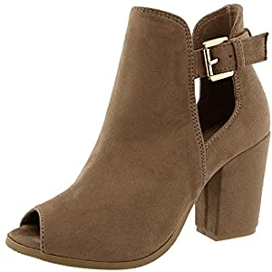 Top Moda Women's Buckle Open Side Peep Toe Block Heel Ankle Bootie (9 B(M) US, Taupe)