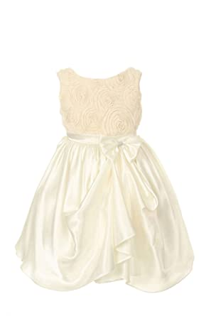 Amazon rosette wsatin formal flower girl dress black champagne amazon rosette wsatin formal flower girl dress black champagne ivory silver white 2 14 clothing mightylinksfo