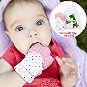 Baby Teething Mitten by Giftty, Self Soothing Teether & Teething Pain Relief Toy, Prevent Scratches Glove Stay on Babys Hand, for 0-6 Months Baby Girl (1 Mitten, Pink)
