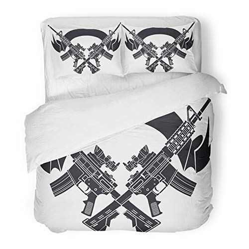 (Emvency 3 Piece Duvet Cover Set Brushed Microfiber Fabric Breathable Ar15 Crossed Assault Rifles Over Gun Carbine Shield Tactical American Armament Bedding Set with 2 Pillow Covers King Size)