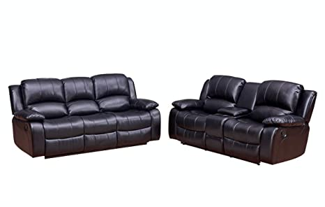 Marvelous Betsy Furniture 2 Pc Bonded Leather Recliner Set Living Room Set In Black Sofa Loveseat Pillow Top Backrest And Armrests 8018 32 Uwap Interior Chair Design Uwaporg