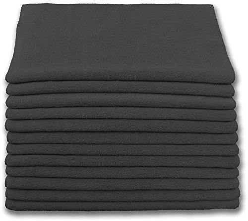 Highest Quality Microfiber Terry Cloth 16x16 300gsm - Black Case of 204 by Direct Mop Sales, Inc.