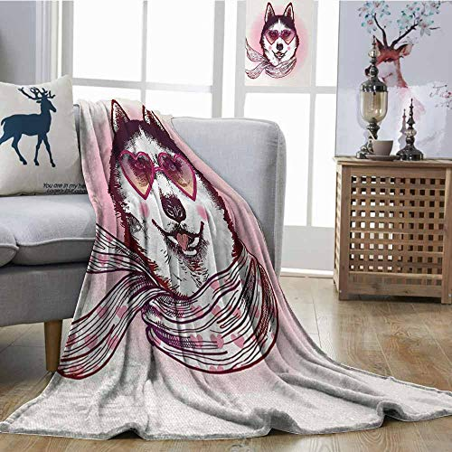 Fickdle Home Throw Blanket Cartoon Hipster Husky Dog with Hearts Sunglasses and Scarf Fashion Animal Art Print Pink Cream Black Lightweight Super Soft Comfort W40 xL60 ()