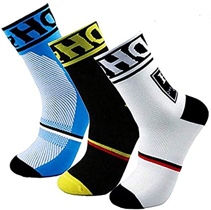 CYCLE SPORTS Cycling Socks for Men,No Blister Breathable Athletic Socks for Cycling Running Hiking Trekking Gym Tracing High Performance Arch Compression Cushioned Quarter Socks,Size 6-11