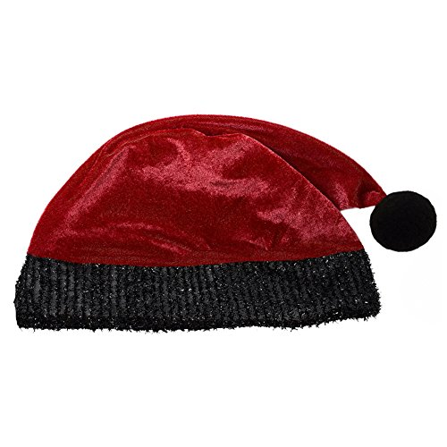 Adult Red Plush Santa Hat With Black Trim ~ Xmas Christmas Costume Party Hat (Cheap Santa Hat)