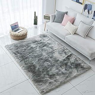 Carvapet Shaggy Soft Faux Sheepskin Fur Area Rugs Floor Mat Luxury Bedside Carpet for Bedroom Living Room, 4ft x 6ft,Grey