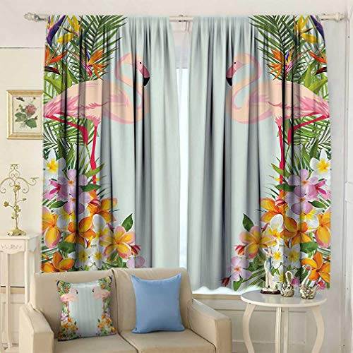 Floral Decor Curtains, Flamingos Tropical Flowers and Flamingos Decorations for Home Window Coverings for Bedroom 2 Panels Set, 63'' W x 45'' L Baby Blue and Orange 45' Tropical Home Decor