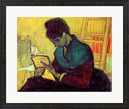 (The Novel Reader, 1888 by Vincent Van Gogh Framed Art Print Wall Picture, Espresso Brown Frame, 27 x 23 inches)