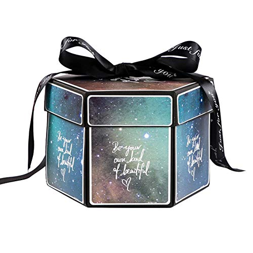 Explosion Box Hexagonal,Multi-Layer Surprise Photo Album Box for Wedding/Engagement/Anniversary/Birthday/Valentine's Day Boyfriend Girlfriends Gifts