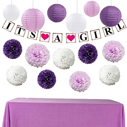 InBy It's A Girl Baby Shower Decoration Party Supplies Kit for Girl - Tissue Paper Pom Pom and Lantern, It's A Girl Banner - Purple, White]()