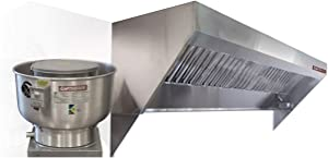Food Truck Low Profile Exhaust Hood System Includes a stainless steel exhaust hood, an exhaust fan, an adjustable duct section, and installation hardware (6' Long Hood & Fan)