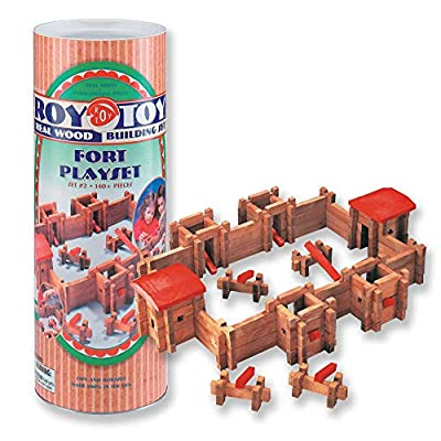 GRANITE MOUNTAIN PRODUCTS Log Fort Building Toy Set with Cowboys and Indians: 140 Piece All Wood Log Fort Building Set with 24 Cowboy and Indian Figures: Toys & Games