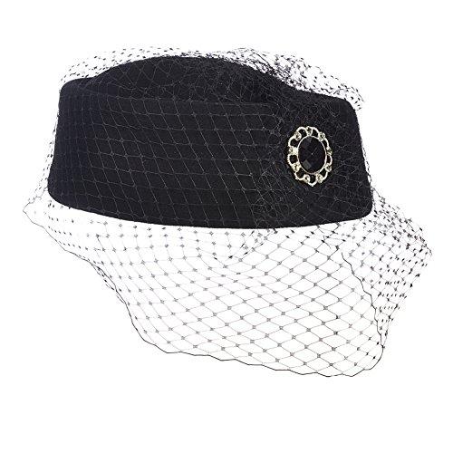 Black Pillbox Hat w Veil & Black Rhinestone Pin - Church, Dressy, Pin Up, Retro