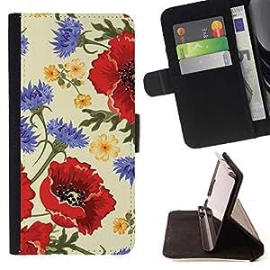 For HTC One M8 Case , Flor Roja Vignette vintage- la tarjeta de Crédito Slots PU Funda de cuero Monedero caso cubierta de piel