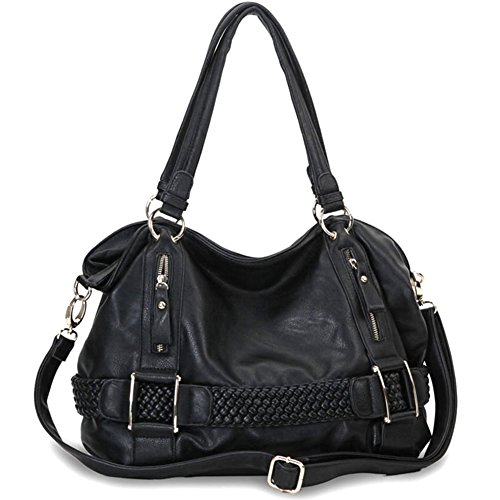 MG Collection Samantha Weave Belt Hobo Handbag, Black, One Size (Collection Braided Belt)