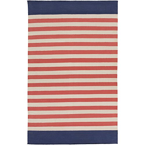 Surya OXF3008-23 Hand Woven Casual Accent Rug, 2-Feet by 3-Feet, Coral/Light Gray/Navy ()