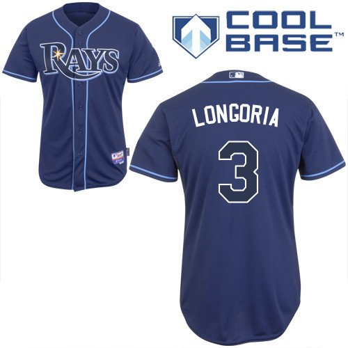 MLB Men's Tampa Bay Rays Evan Longoria Six Button Cool Base Authentic Alternate Jersey (Navy, 48/X-Large)