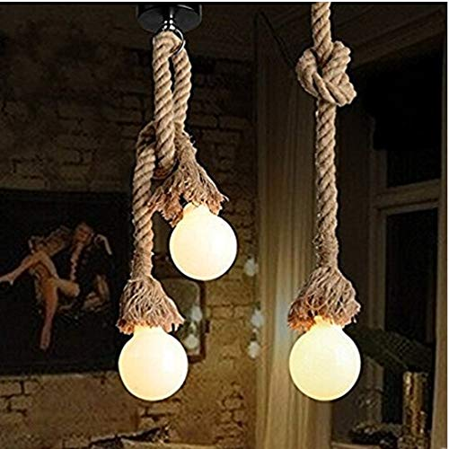Borang Double Heads Retro Rope Lights Loft Vintage Lamp Bedroom Dining Room Pendant Hand Knitted Hemp Rope 200 Cm ()