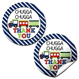 "Choo Choo Train Boy Birthday Party Thank You Sticker Labels, 40 2"" Party Circle Stickers by AmandaCreation, Great for Party Favors, Envelope Seals & Goodie Bags"