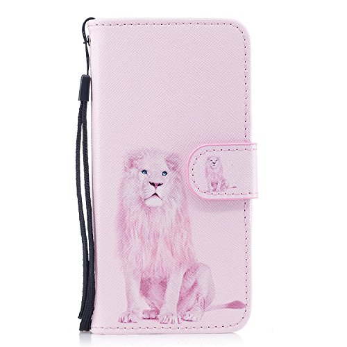 iPhone 6 / 6S Case, iPhone 6 / 6S Cover,Alfort Painting Phone Case Cover Fashion Design Dual-Use Flip Fold PU Leather Book Wallet Style Case for iPhone 6 / 6S Smartphone Image Pink Lion