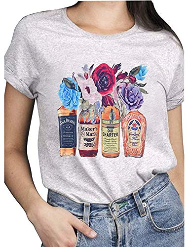 Koimcuiy Women's Beer Drinking Babe Shirts Letter Print Short Sleeve T-Shirt Summer Tops Tees (S, 01)