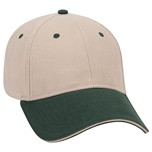 (OTTO Brushed Bull Denim Sandwich Visor 6 Panel Low Profile Baseball Cap - Dk.Grn/KHA/KHA)
