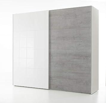 Composad - Armario de 2 puertas correderas, color blanco lacado y ...
