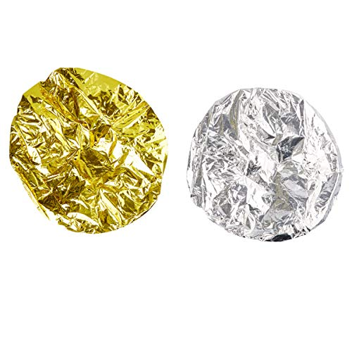 (Juvale 12-Pack Tin Foil Natural Heat Shower Cap for Deep Conditioning, Gold and Silver)