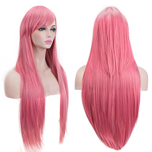 "Price comparison product image AKStore Wigs 32"" 80cm Long Straight Anime Fashion Women's Cosplay Wig Party Wig With Free Wig Cap(Pink)"