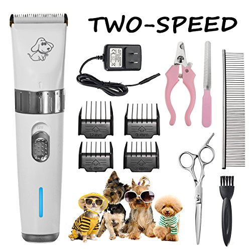 FOCUSPET Pet Grooming Clippers, 2 Level Speed Adjustable Rechargeable Cordless Dog Grooming Clippers Kit Low Noise Electric Hair Trimming Clippers Set for Small Medium Large Dogs Cats Animals by FOCUSPET (Image #8)