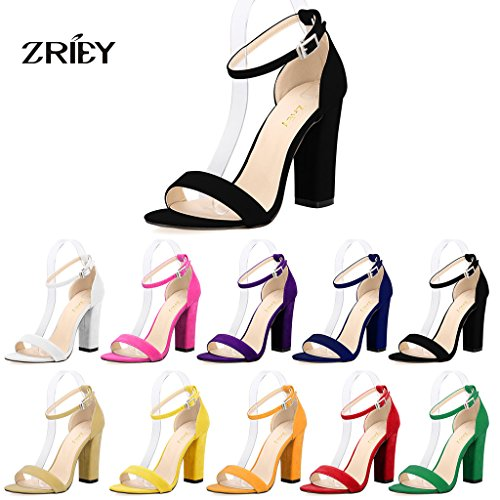 Image of Women's Strappy Chunky Block High Heel Ankle Strap Sandals Open Toe Dress Sandal