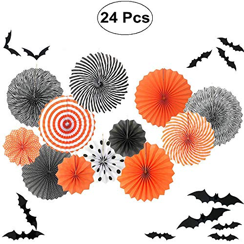 Sorive 12pc Black Orange Party Hanging Paper Fans Party Ceiling Hangings Halloween Baby Shower Birthday Wedding Party Decorations, 12pc 3D Bat Wall Stickers Window Decor Supplies