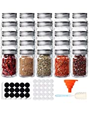 Comrzor 25 Pack 4 OZ Glass Mason Spice Jars, Empty Spice Bottles with Shaker Lids and Airtight Metal Caps for Storage, DIY (Chalkboard Labels, Sponge Brush and Silicone Collapsible Funnel Included)