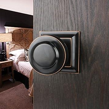VanMe Solide Kupfer Interior Solid Kugelschloss Modern Copper Einfache  Europäische Badezimmer Türschloss Schwarz Bronze Right Inside
