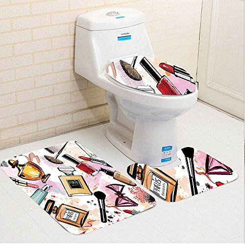 Keshia Dwete three-piece toilet seat pad customGirly Cosmetic and Make Up Theme Pattern with Perfume and Lipstick Nail Polish Brush Modern City Lady Multi